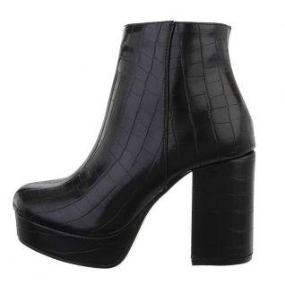 Bottines femmes coloris noir talon large