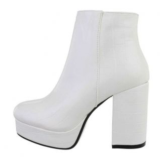 Bottines blanches talon épais