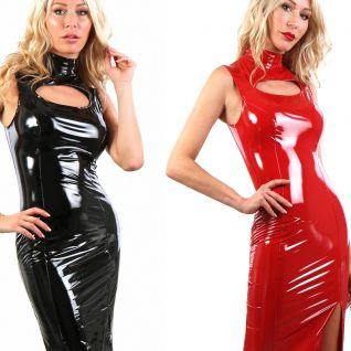 Robe décolletée vinyle noir ou rouge