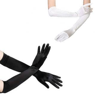 Gant long en satin noir ou blanc