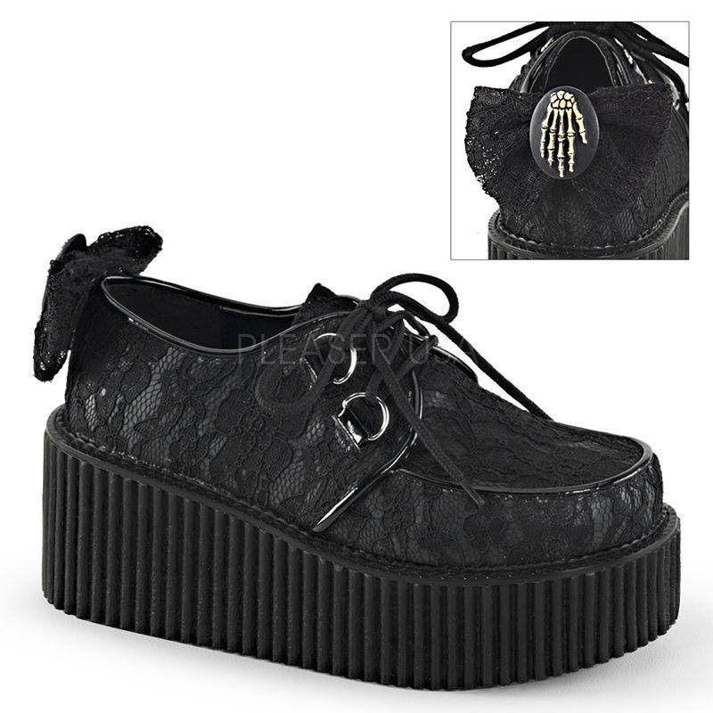 Creepers noirs à lacet semelle épaisse - Pointure : 37 - Demonia - Modalova