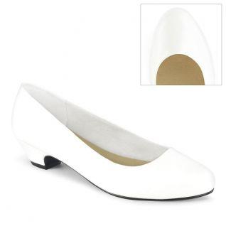 Escarpin habillé coloris blanc vernis petit talon