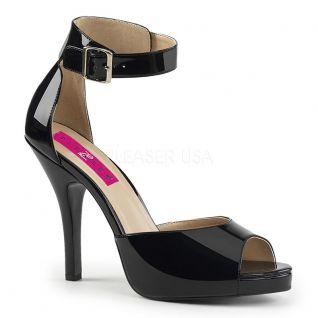 sandale noire vernis grande pointure