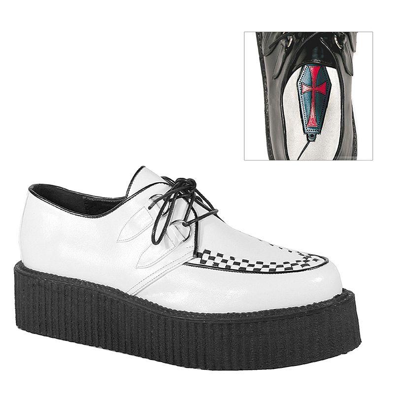 Creepers coloris blanc et semelle noire - Pointure : 43 - Pleaser - Modalova