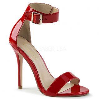 Sandale haut talon rouge vernie