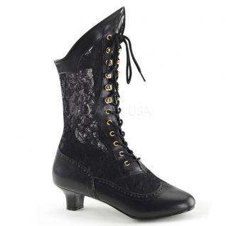Chaussure rétro bottines noires à lacet petit talon