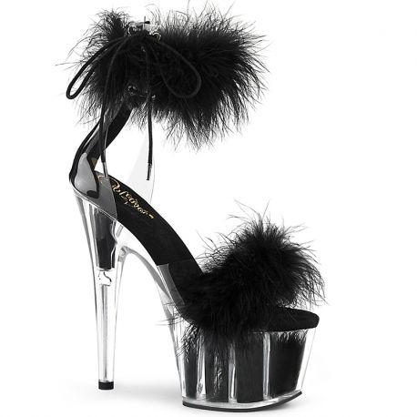 Sandale d'intérieur marabou noir