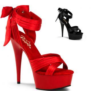Sandale satinée rouge ou noire