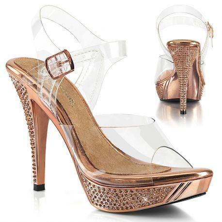 Sandales rose dorée paillettes