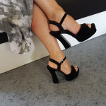 chaussures plateforme noir velours