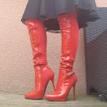 botte rouge vernis