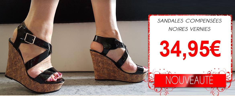 sandale compensee vernie et sexy