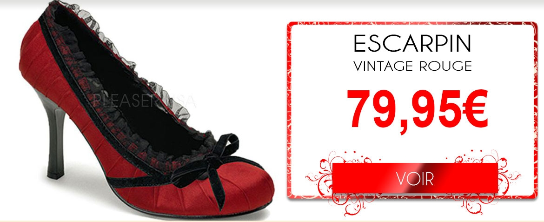 Escarpin vintage rouge dentelle